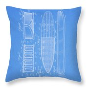 1950 Surfboard Patent Throw Pillow