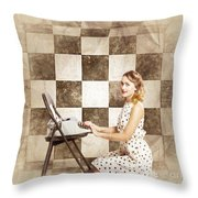1950s Fictional Pinup Writer Throw Pillow