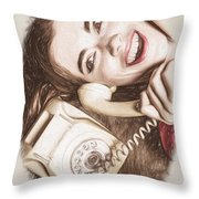 1950s Pinup Girl Talking On Retro Phone Throw Pillow