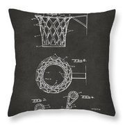 1951 Basketball Net Patent Artwork - Gray Throw Pillow