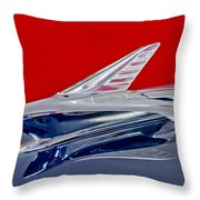 1951 Ford Woodie Hood Ornament Throw Pillow