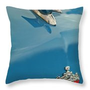 1952 Crosley Super Woody Wagon Hood Ornament Throw Pillow
