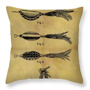 1952 Fish Lure Patent Throw Pillow