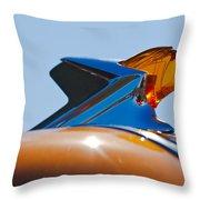 1952 Pontiac Tin Woodie Wagon Hood Ornament 2 Throw Pillow