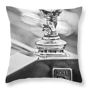 1952 Rolls-royce Silver Wraith Hood Ornament 2 Throw Pillow