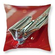 1953 Cadillac Eldorado Convertible Hood Ornament Throw Pillow