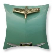 1953 Golden Dragon Kaiser Hood Ornament 2 Throw Pillow