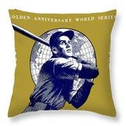 1953 Yankees Dodgers World Series Program Throw Pillow