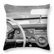 1954 Chevrolet Corvette Steering Wheel -368bw Throw Pillow