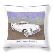 1954 Corvette Roadster Throw Pillow