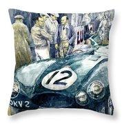 1954 Le Mans 24 Jaguar D Type Short Nose Stirling Moss Peter Walker  Throw Pillow