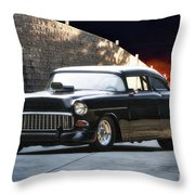 1955 Chevrolet Coupe 'sinister Chevy' Throw Pillow