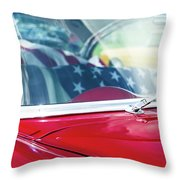 1955 Chevy Bel Air With Flag Throw Pillow