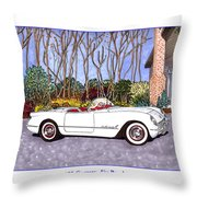 1955 Corvette Six Roadster Throw Pillow