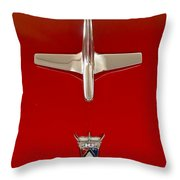 1955 Ford Fairlane Sunliner Convertible Hood Ornament Throw Pillow