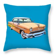 1955 Lincoln Capri Fine Art Illustration  Throw Pillow