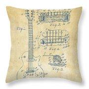 1955 Mccarty Gibson Les Paul Guitar Patent Artwork Vintage Throw Pillow