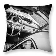 1955 Mercedes-benz 300sl Gullwing Steering Wheel - Race Car -0329bw Throw Pillow