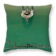 1955 Packard Clipper Hood Ornament 2 Throw Pillow