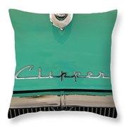 1955 Packard Clipper Hood Ornament Throw Pillow