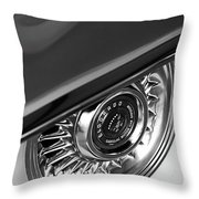 1956 Cadillac Eldorado Wheel Black And White Throw Pillow