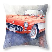 1956 Chevrolet Corvette C1 Throw Pillow
