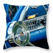 1956 Ford Thunderbird Steering Wheel And Emblem Throw Pillow