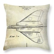 1956 Jet Airplane Patent 2 Blue Throw Pillow