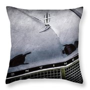 1956 Lincoln Continental Mark II Hess And Eisenhardt Convertible Grille Emblem - Hood Ornament -0126 Throw Pillow