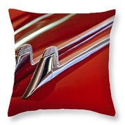 1957 Cadillac Eldorado Biarritz Hood Ornament Throw Pillow