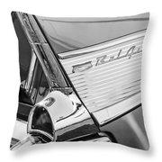 1957 Chevrolet Bel Air Tail Light Emblem -0140bw Throw Pillow