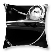 1957 Chevrolet Belair Steering Wheel Black And White Throw Pillow