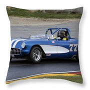 1957 Chevy Corvette At Road America Throw Pillow