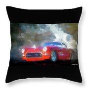 1957 Corvette Hot Rod Throw Pillow