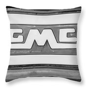 1957 Gmc Pickup Truck Tail Gate Emblem -0272bw2 Throw Pillow