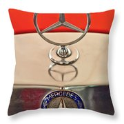 1957 Mercedes-benz 220 S Hood Ornament Throw Pillow