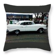 1957 White Chevy Throw Pillow