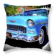 1955 Chevy Baby Blue Throw Pillow