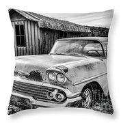 1958 Chevy Del Ray In Black And White Throw Pillow
