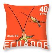 1958 Ecuador Hummingbirds Postage Stamp Throw Pillow