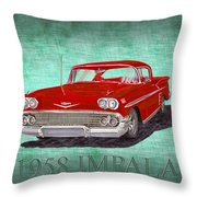 1958 Impala By Chevrolet Throw Pillow