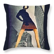 1960 70 Fashion Shot Of Female Model In Usa Throw Pillow