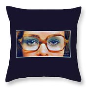 1960 70 Stylish Female Glasses Advertisement 3 Throw Pillow
