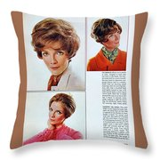 1960 70 Stylish Female Hair Styles Brown Mature Lady Throw Pillow