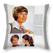 1960 70 Stylish Female Hair Styles Brown Throw Pillow