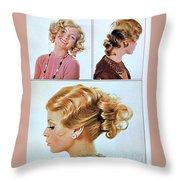1960 70 Stylish Female Hair Styles Golden Blond Throw Pillow