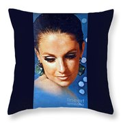 1960 70 Stylish Lady In Blue Throw Pillow