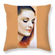 1960 70 Stylish Lady In Red Throw Pillow