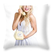 1960s Hot Gossip Woman With Retro Telephone Throw Pillow
