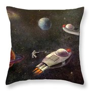 1960s Outer Space Adventure Throw Pillow